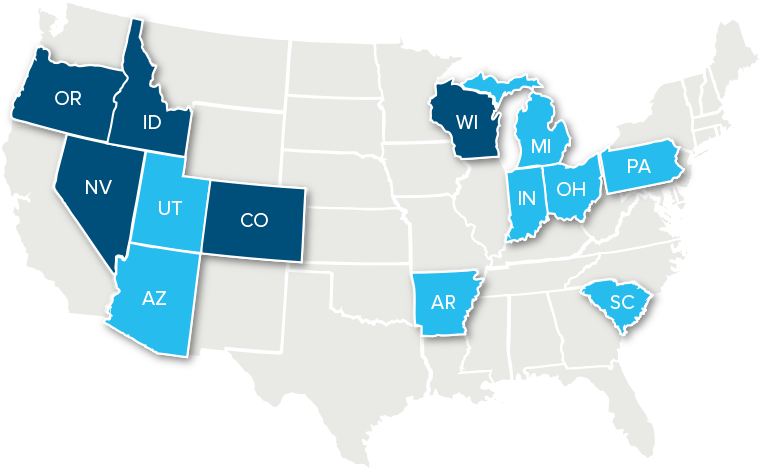 Map of the United States of America with OH, WI, MI, SC, ID, NV, UT, CO and AZ highlighted as schools that offer Destinations Career Academies and Programs