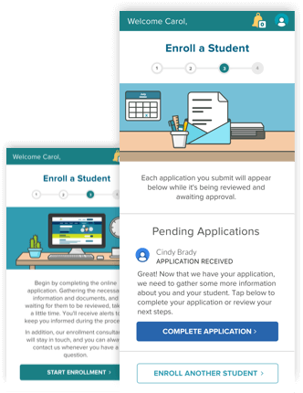 screenshots of the Enroll a Student page on the K12 App