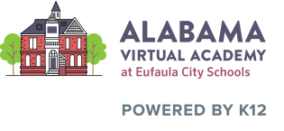 Logo of Alabama Virtual Academy at Eufaula City Schools with text POWERED BY K12