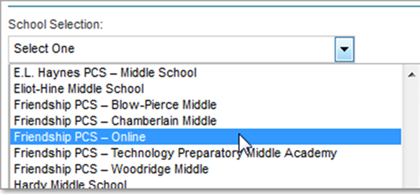 Image showing dropdown with the list of schools from which to choose