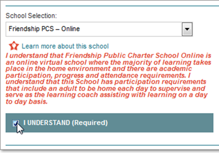 Image showing box being checked to indicate you understand this is an online virtual school