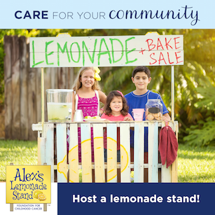 Three kids at a lemonade stand fundraiser