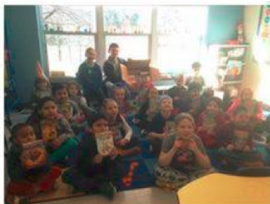 Students at Book Drive