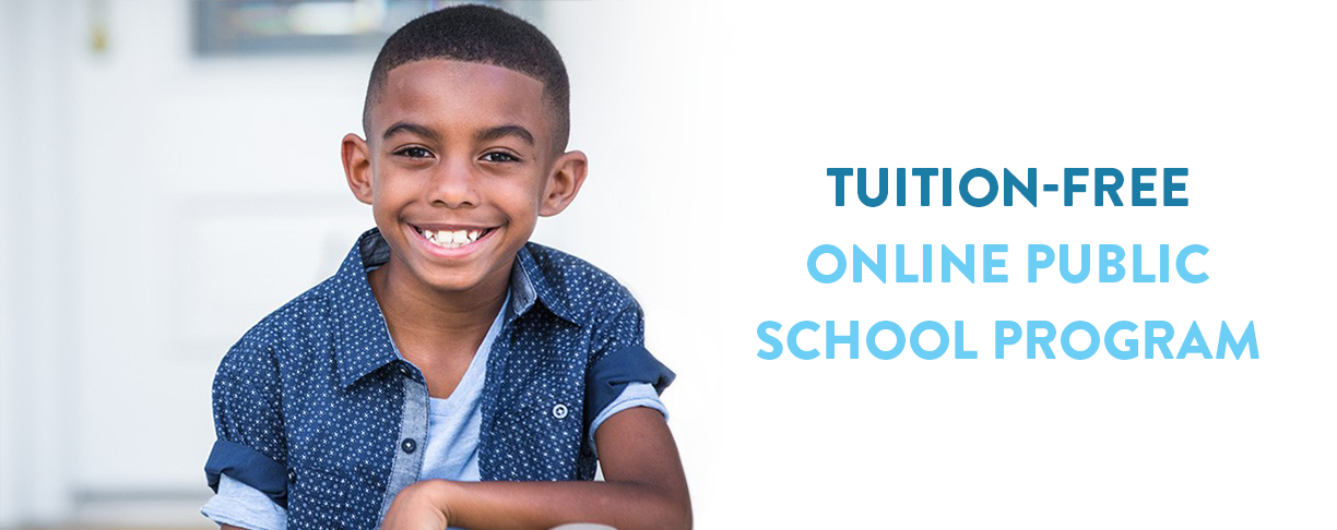 Photo of a boy smiling with overlay of text that reads Tuition-Free Online Public School